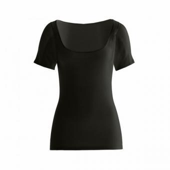 manjana® women-U-modern-shirt mit eingearbeitetem Achselnässeschutz Schwarz : S