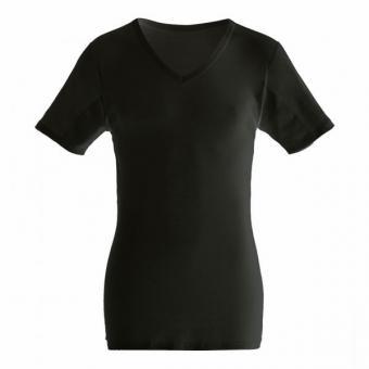 manjana® man-V-classic-shirt mit eingearbeitetem Achselnässeschutz Schwarz : M