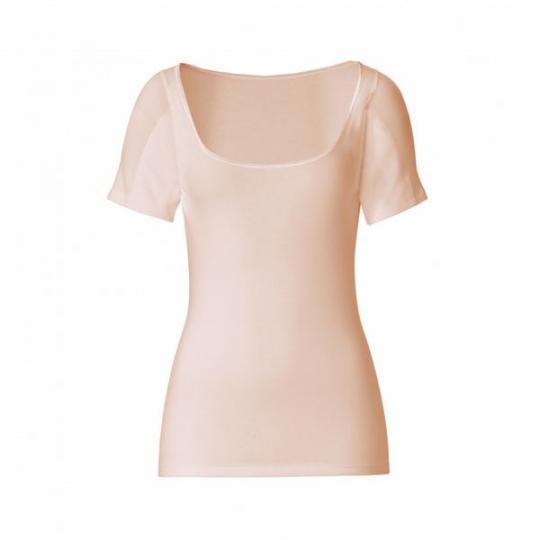 manjana® women-U-modern-shirt mit eingearbeitetem Achselnässeschutz Hautfarben : L
