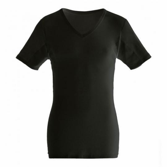 manjana® man-V-classic-shirt mit eingearbeitetem Achselnässeschutz Schwarz : XL