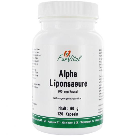 """FunVital© Alpha-Liponsäure - regeneriert, optimiert und ersetzt andere """"Kampftruppen"""" des Immunsystems. 120 Kapseln"""