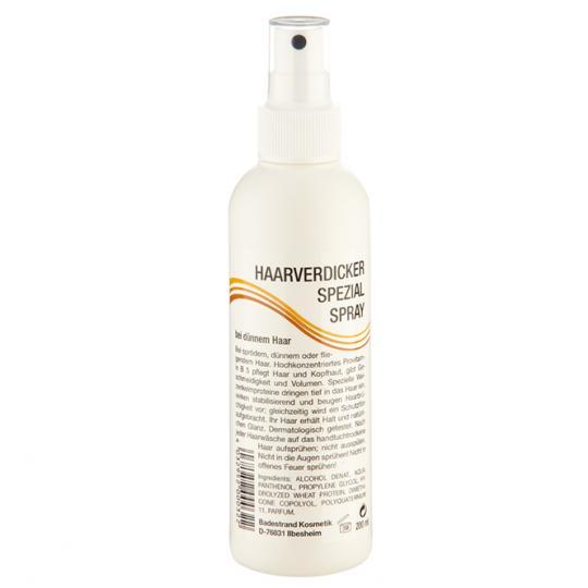 Haarverdicker Spezialspray von Badestrand für mehr Volumen bei dünnem, sprödem und fliegendem Haar