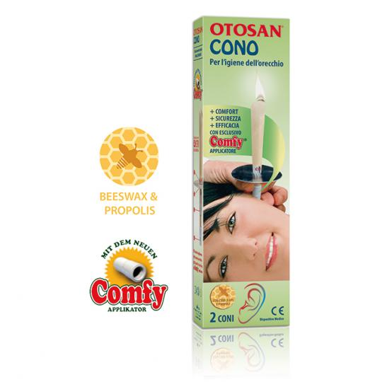 Otosan® Ohrenkerzen helfen bei der Entfernung von Ohrenschmalz und Ohrenpfropfen. Mit wohltuendem Propolis. Medizinprodukt.
