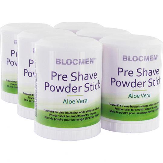 BLOCMEN© Aloe Vera 6x Rasurpuderstift für eine schonende Trockenrasur