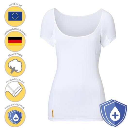 Women-U-modern PLUS-Shirt von manjana® mit besonders saugstarkem Achselnässeschutz für Frauen Weiss : XL