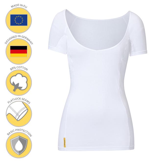 MANJANA® Women V modern shirt mit starkem Achselnässeschutz gegen Schweißflecken